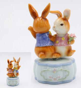 Dancing Bunnies Porcelain Musical Music Box Sculpture