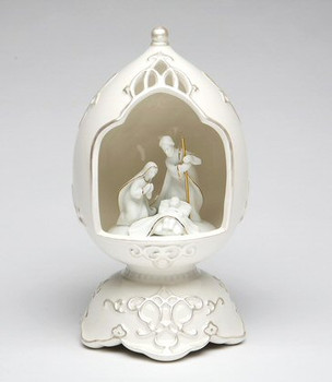 Egg Shape Nativity Scene Porcelain Musical Music Box Sculpture
