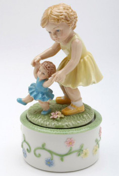 Sisters Playing Porcelain Musical Music Box Sculpture