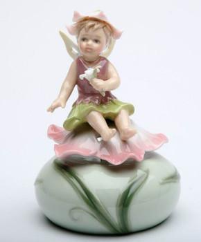 Fairy Sitting on a Pink Flower Musical Music Box Sculpture