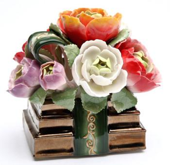 Book Flower Musical Music Box Sculpture