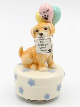 Golden Retriever Dog Porcelain Musical Music Box Sculpture