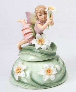 Fairy with Daffodil Flowers Musical Music Box Sculpture