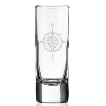 Compass Rose Tall Shot Glasses, Set of 12