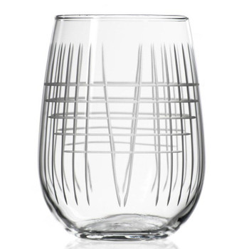 Matchstick Stemless Wine Glass Goblets, Set of 4