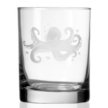 Octopus Double Old Fashioned Glasses, Set of 4