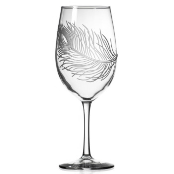 Peacock Bird Feather All Purpose Wine Glasses, Set of 4