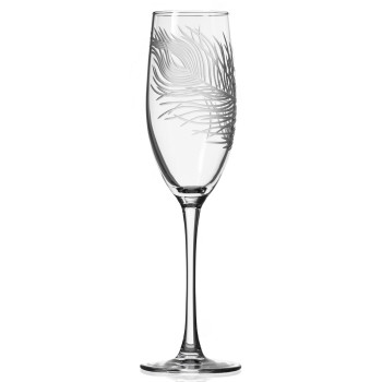 Peacock Bird Feather Champagne Flute Glasses, Set of 4