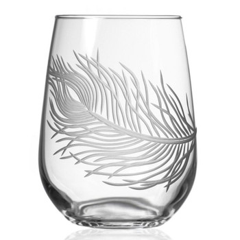 Peacock Bird Feather Stemless Wine Glass Goblets, Set of 4