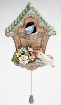 Cat on the Birdhouse Musical Music Box Sculpture