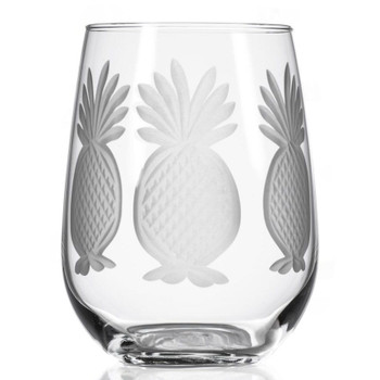 Pineapple Stemless Wine Glass Goblets, Set of 4
