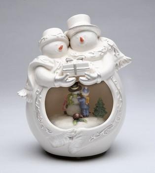 Snowman Couple Musical Music Box Sculpture