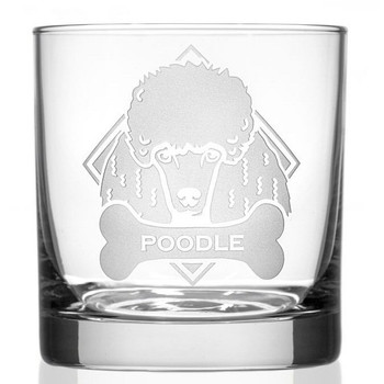 Poodle Dog Double Old Fashioned Glasses, Set of 4