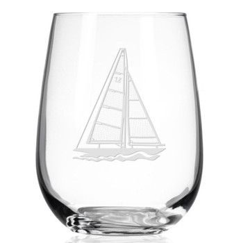 Sailboat Stemless Wine Glass Goblets, Set of 4