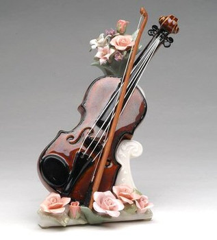 Violin with Flowers Musical Music Box Sculpture