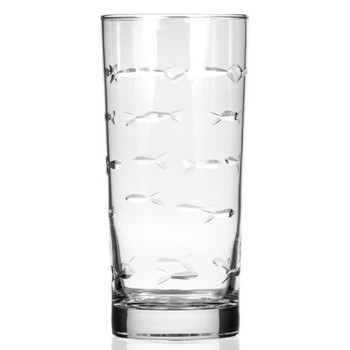 School of Fish High Ball Glasses, Set of 4