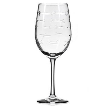 School of Fish White Wine Glasses, Set of 4