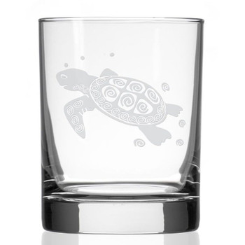 Sea Turtle Double Old Fashioned Glasses, Set of 4