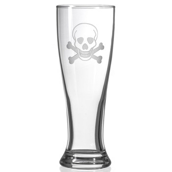 Skull and Bones Beer Pilsner Glasses, Set of 4