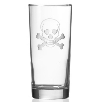 Skull and Bones High Ball Glasses, Set of 4