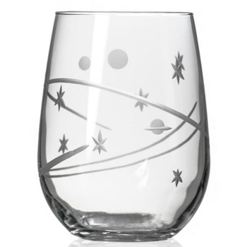 Space Stemless Wine Glass Goblets, Set of 4