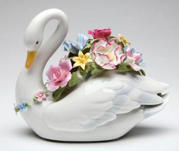 Swan Bird with Flowers Musical Music Box Sculpture