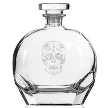 Sugar Skull Glass Whiskey Decanter