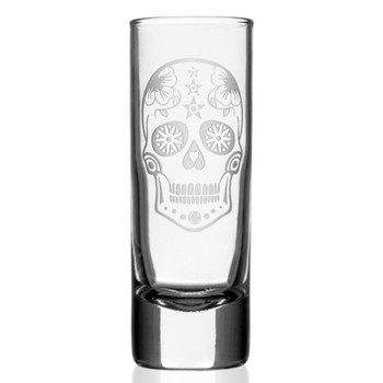 Sugar Skull Tall Shot Glasses, Set of 12