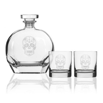 Sugar Skull Glass Whiskey Decanter and On the Rocks Glasses with Gift Box, Set of 3