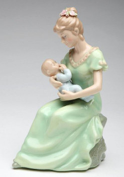 Mom with Baby Boy Musical Music Box Sculpture