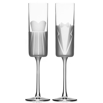 Wedding Cheers Formal Dress and Tuxedo Champagne Flute Glasses, Set of 2