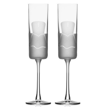 Wedding Cheers Romance Formal Dress Champagne Flute Glasses, Set of 2