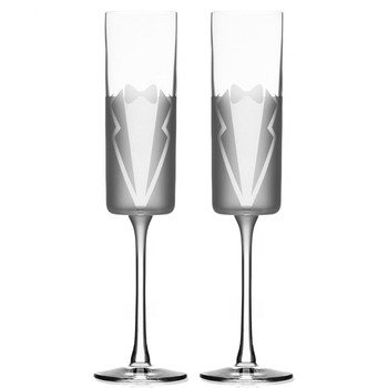 Wedding Cheers Tuxedo Champagne Flute Glasses, Set of 2