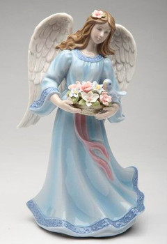 Angel with Flower Basket and Bird Musical Music Box Sculpture