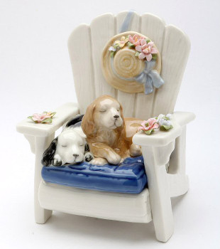 Dogs Sitting on a Garden Chair Porcelain Musical Music Box Sculpture