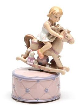 Girl Riding a Rocking Horse Musical Music Box Sculpture