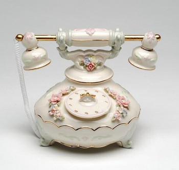 Old Fashion Telephone Musical Music Box Sculpture