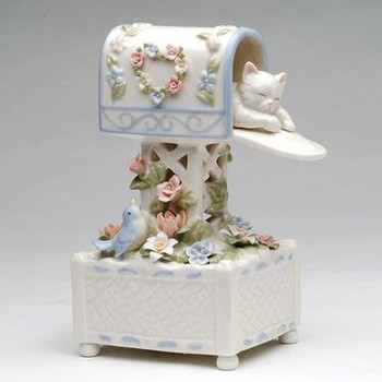 Kitten in a Mailbox with Bird and Flowers Musical Music Box Sculpture