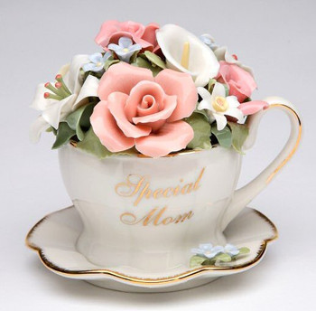 Special Mom Cup and Saucer with Flowers Musical Music Box Sculpture