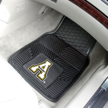 Appalachian State University Heavy Duty Vinyl Front Black Car Mat, Set of 2