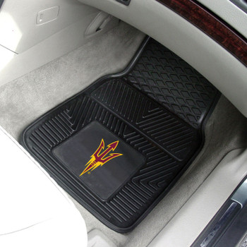 Arizona State University Heavy Duty Vinyl Front Black Car Mat, Set of 2