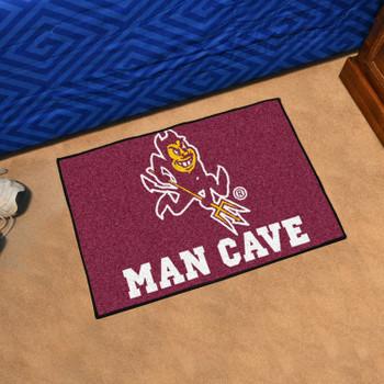 "19"" x 30"" Arizona State University Sparky Logo Maroon Man Cave Starter Rectangle Mat"