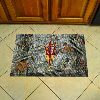 "19"" x 30"" Arizona State University Rectangle Camo Scraper Mat - ""Pitchfork"" Logo"