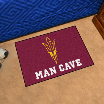"19"" x 30"" Arizona State University Pitchfork Logo Maroon Man Cave Starter Rectangle Mat"