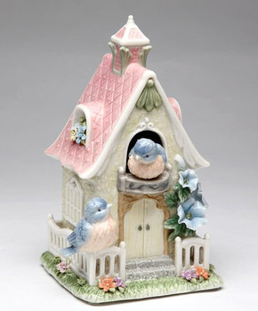 House of Splendor with Birds and Flowers Musical Music Box Sculpture