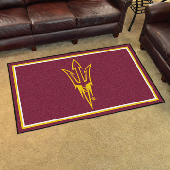 4' x 6' Arizona State University Pitchfork Logo Maroon Rectangle Rug