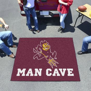 "59.5"" x 71"" Arizona State University Sparky Logo Maroon Man Cave Tailgater Rectangle Mat"