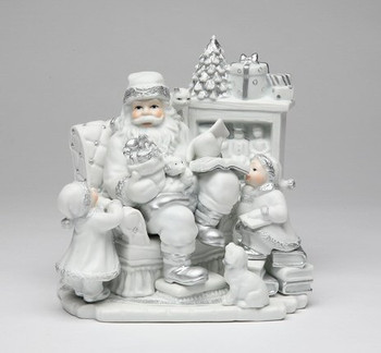 Santa with Kids by a Fireplace Musical Music Box Sculpture