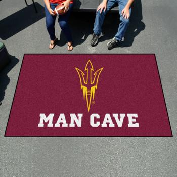 "59.5"" x 94.5"" Arizona State University Pitchfork Logo Maroon Man Cave Rectangle Ulti Mat"