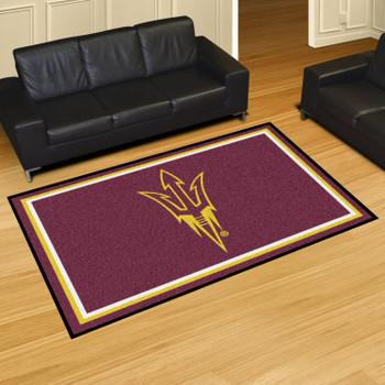5' x 8' Arizona State University Pitchfork Logo Maroon Rectangle Rug